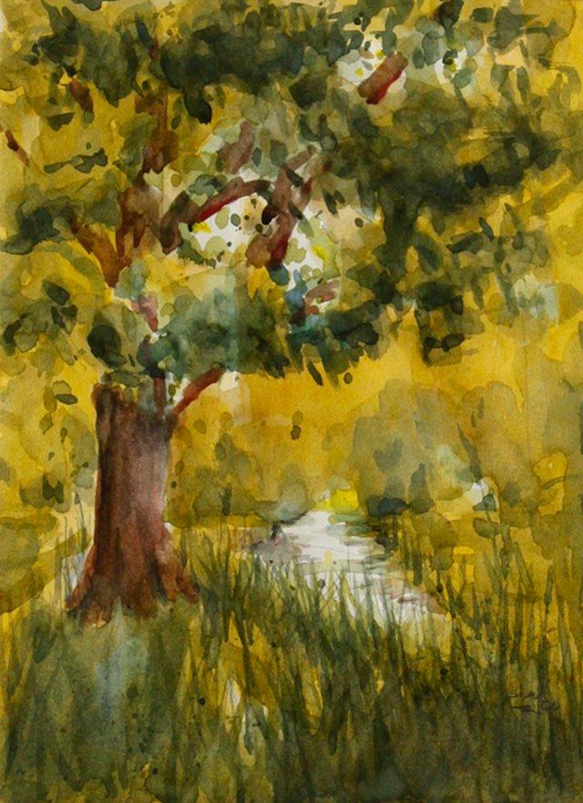 Oak Tree by the Stream