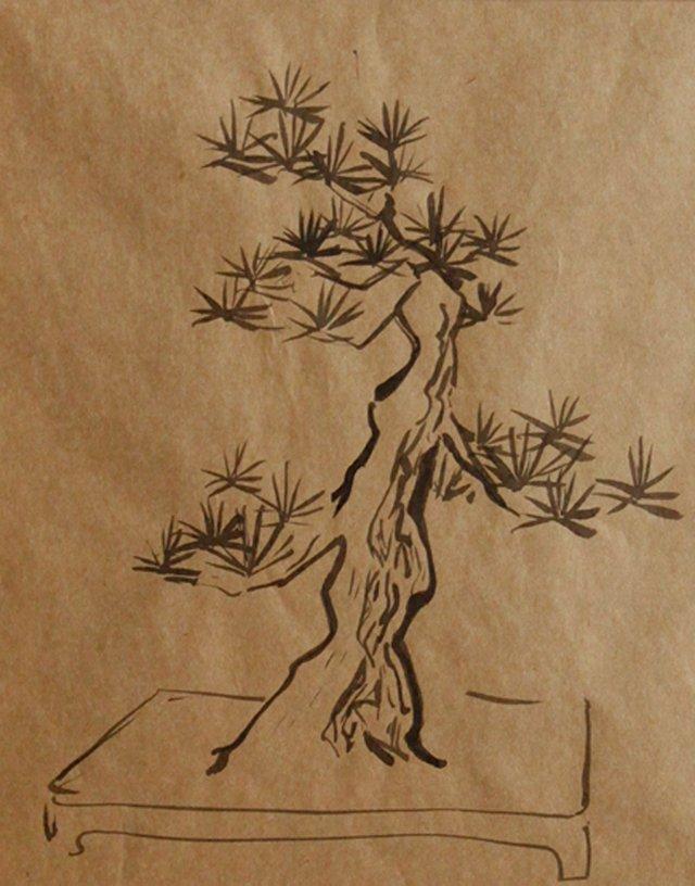 Bonsai Tree in Planter, C. 1940