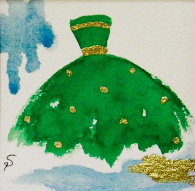 Green Ballgown w/ Gold Dots