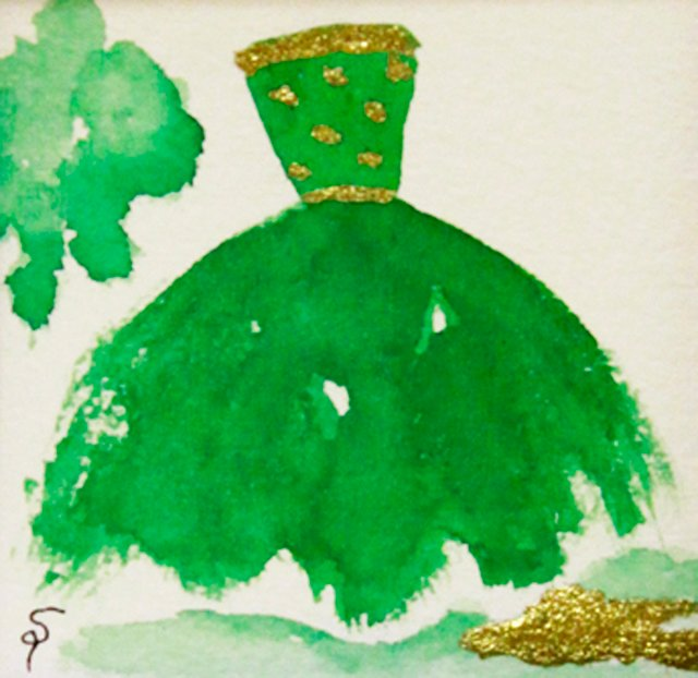 Green Gown w/ Gold Dotted Bodice