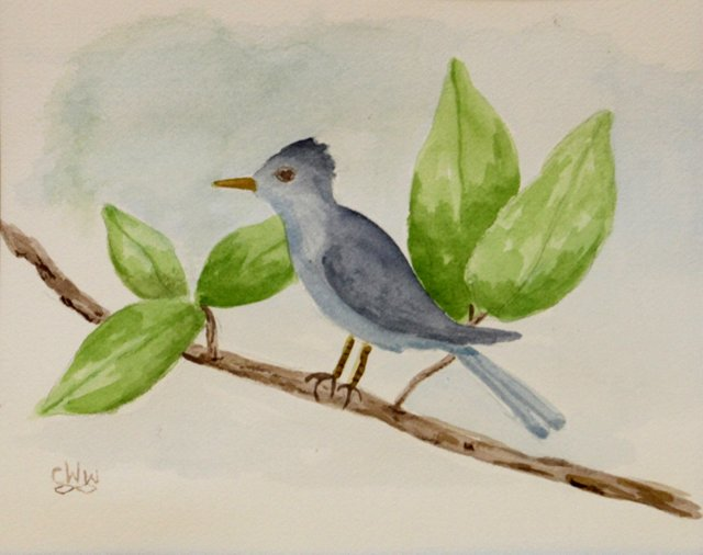 Blue Bird w/ Leaves & Branch