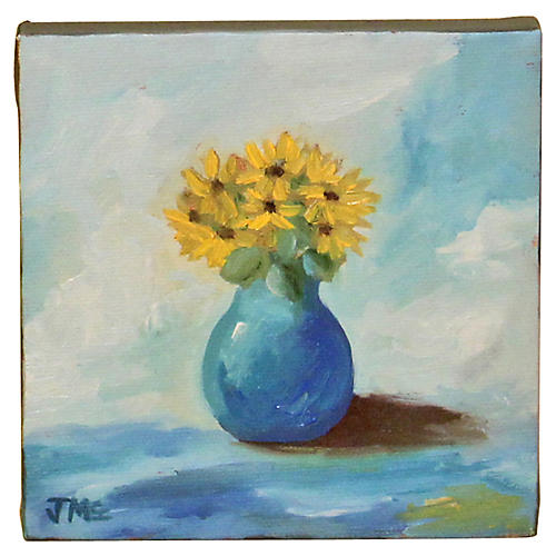 Yellow Flowers in Blue Vase