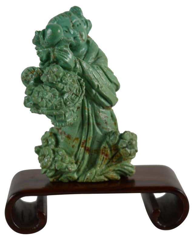 Carved Turquoise Asian Figure