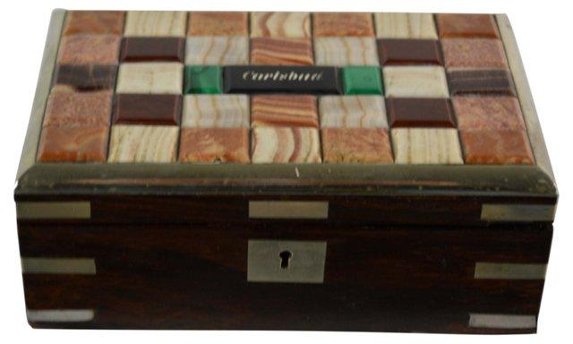 19th-C. Stone Inlaid Box