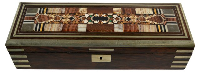 19th-C. Czech Pietra Dura   Box