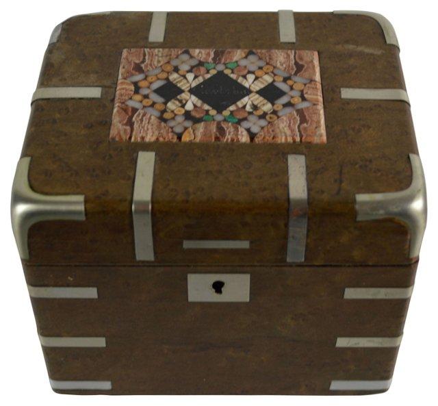 19th-C. Inlaid Pietra Dura  Box