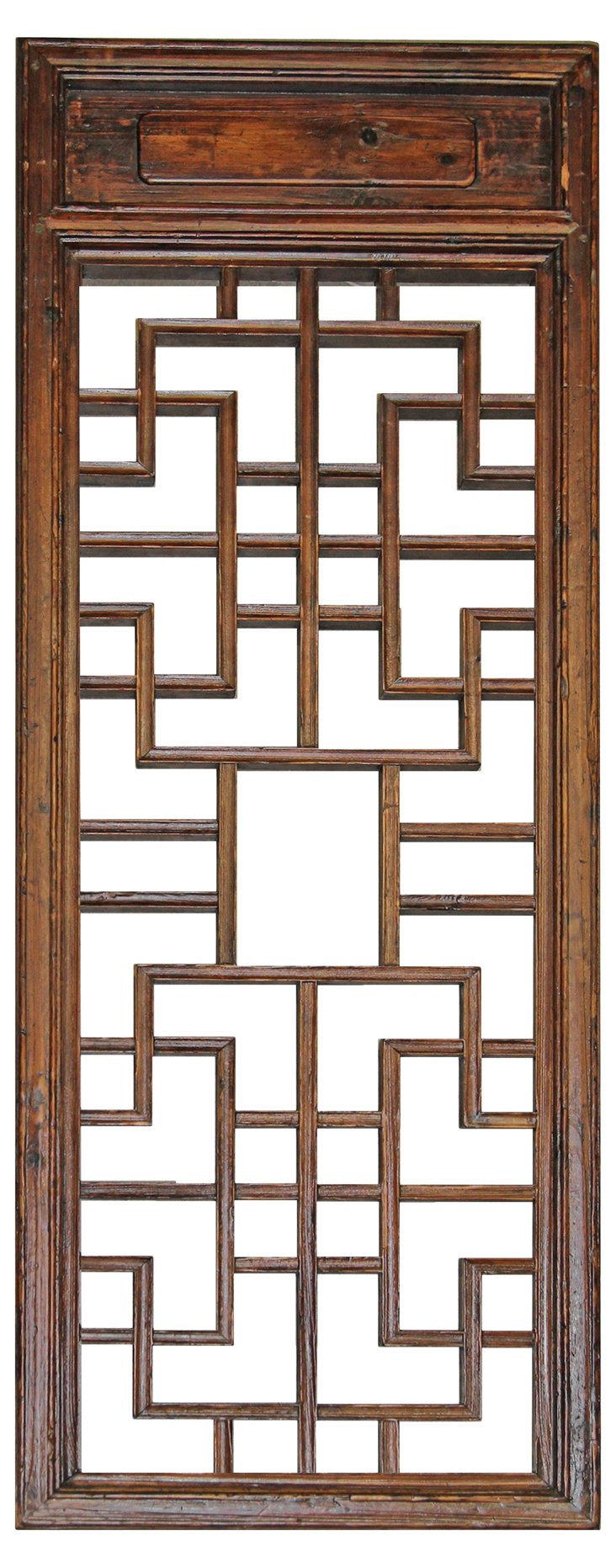 19th-C. Chinese Wood Lattice Screen