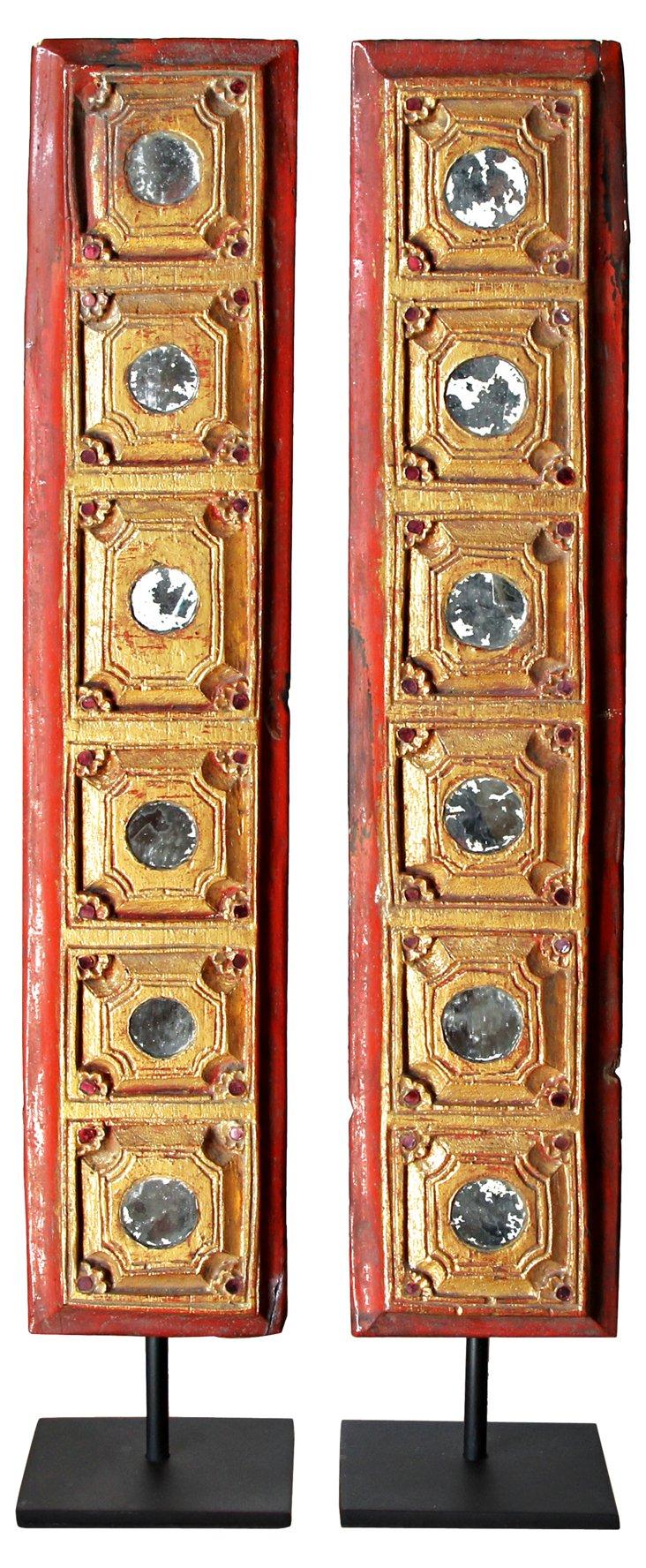 Antique Burmese Book Covers, Pair