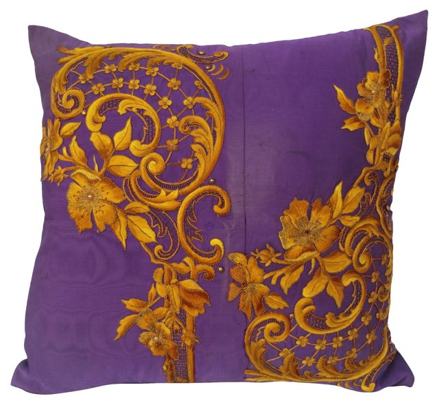 Gold & Purple Embroidered Pillow