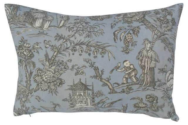 French Chinoiserie Linen Pillow