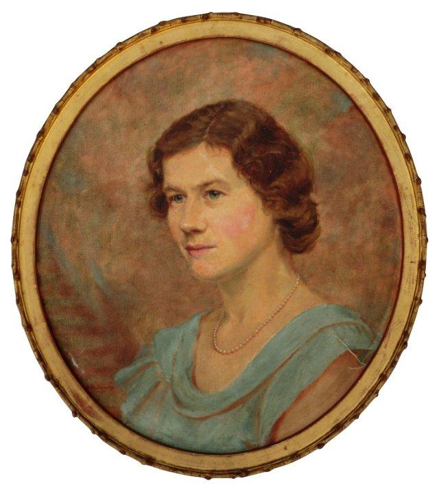 Portrait of a Woman in a Blue Dress