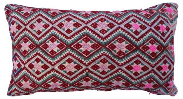 Silk Embroidered Bolster Pillow