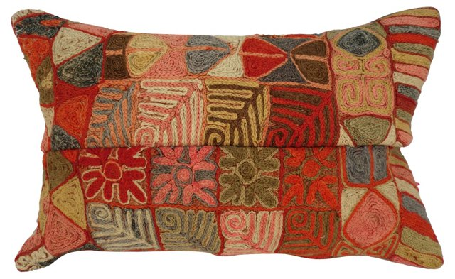 Midcentury Hand-Worked Pillow