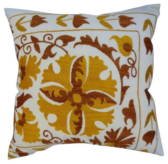 Turkish Golden Suzani Silk Pillow