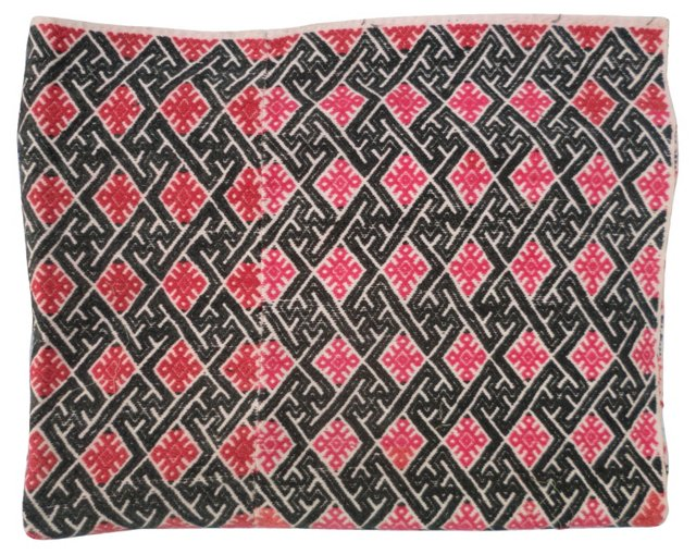 Tribal Embroidered Red Throw