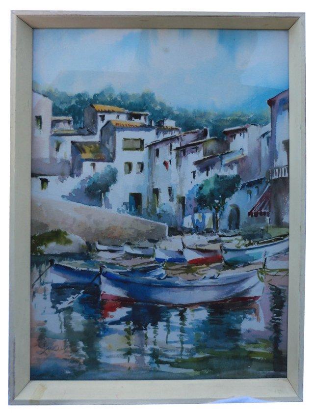 Amalfi Fishing Village Watercolor
