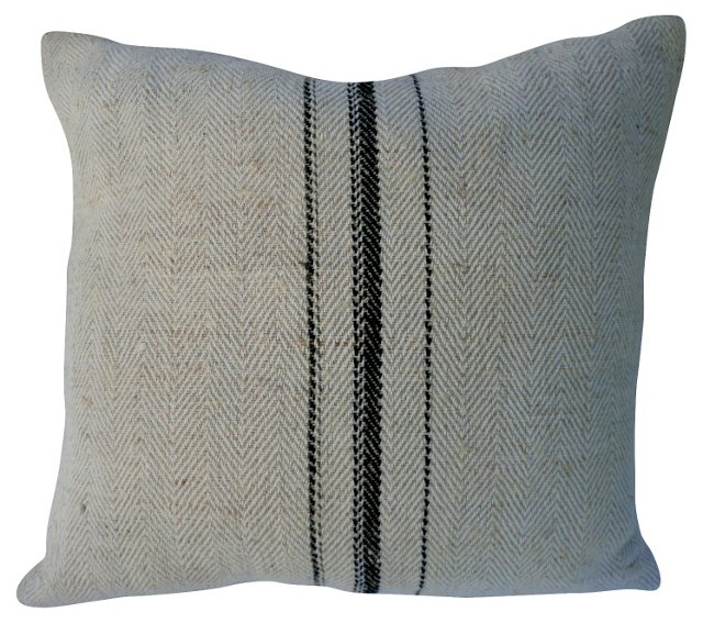 Grain Sack Pillow w/ Herringbone Weave