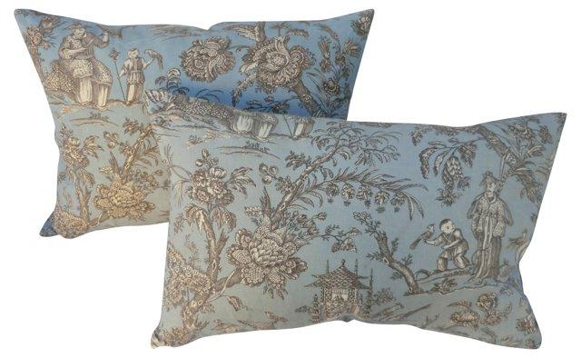 Chinoiserie Linen Pillows, Pair