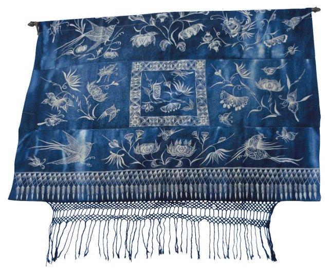 Antique Indigo Batik Wall Hanging