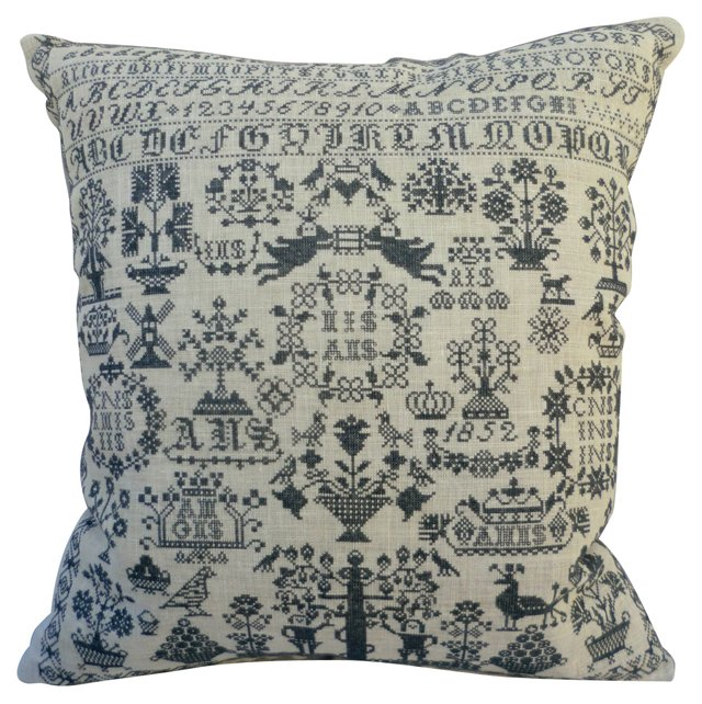 Embroidered Country Sampler Pillow