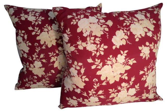 French Victorian Floral Pillows, Pair