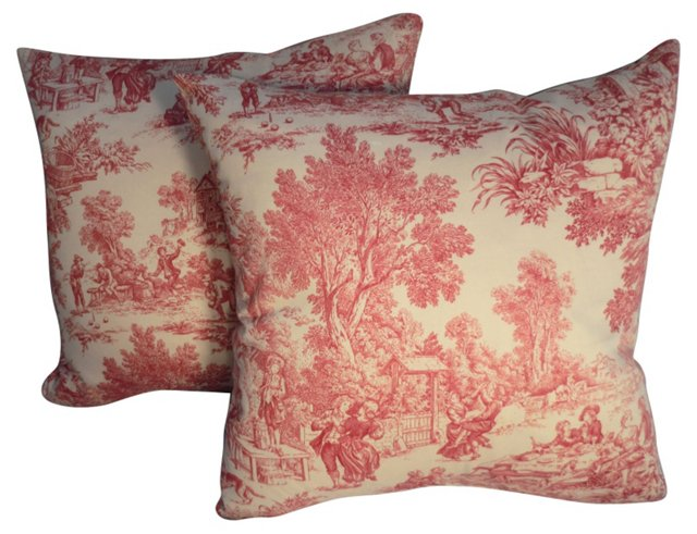 French Chintz Pillows, Pair