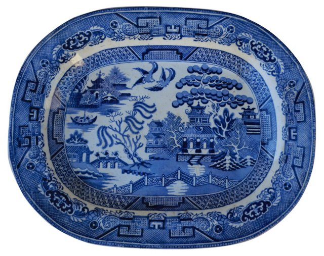Chinese Blue Willow Wall Platter