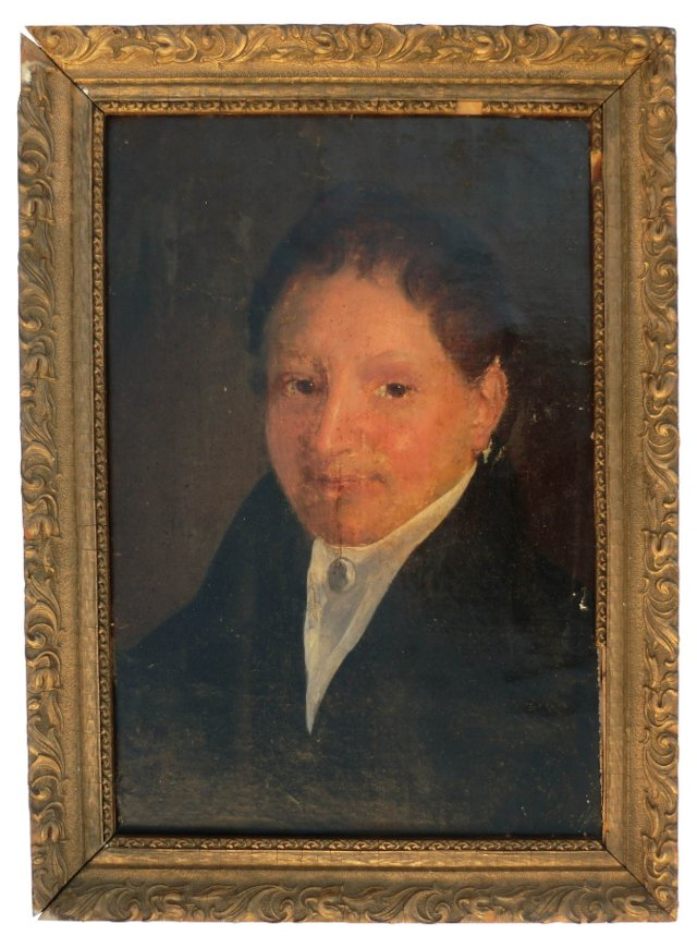 19th-C. French  Oil Portrait