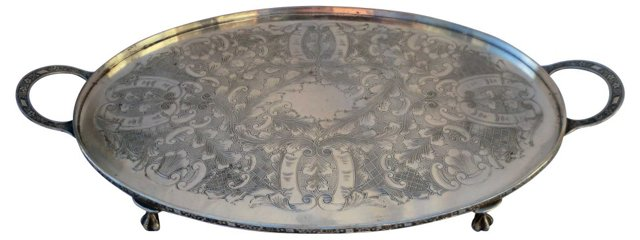 Footed Silver Tray w/ Handles