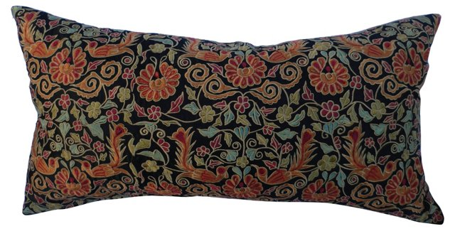 Heavily Embroidered Silk Pillow