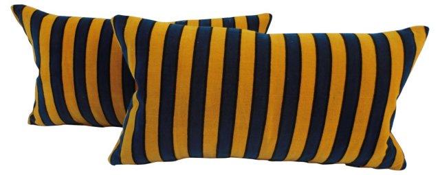Pillows w/ Antique French  Velvet, Pair
