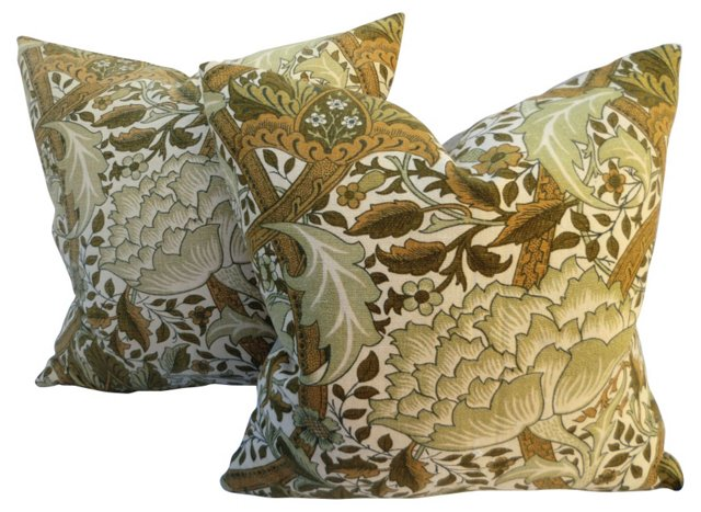 Morris   Floral Pillows, Pair