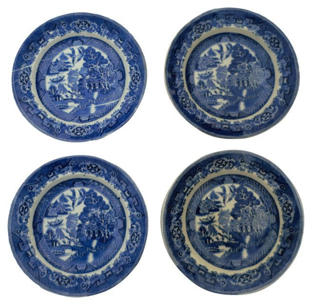 Victorian Willow Wall Plates, S/4