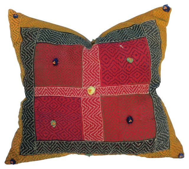 Embroidered Gypsy Textile Pillow