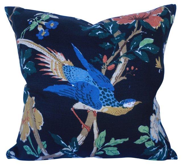 Chinoiserie Linen Bird Pillow
