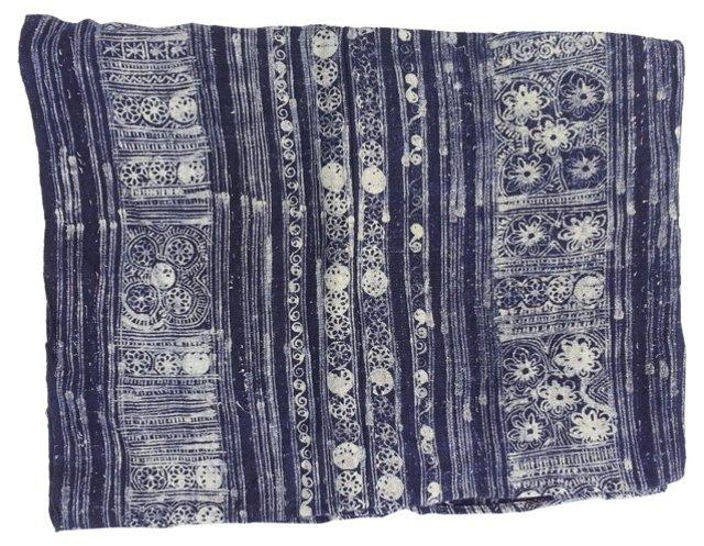 Indigo Linen  Batik  Throw