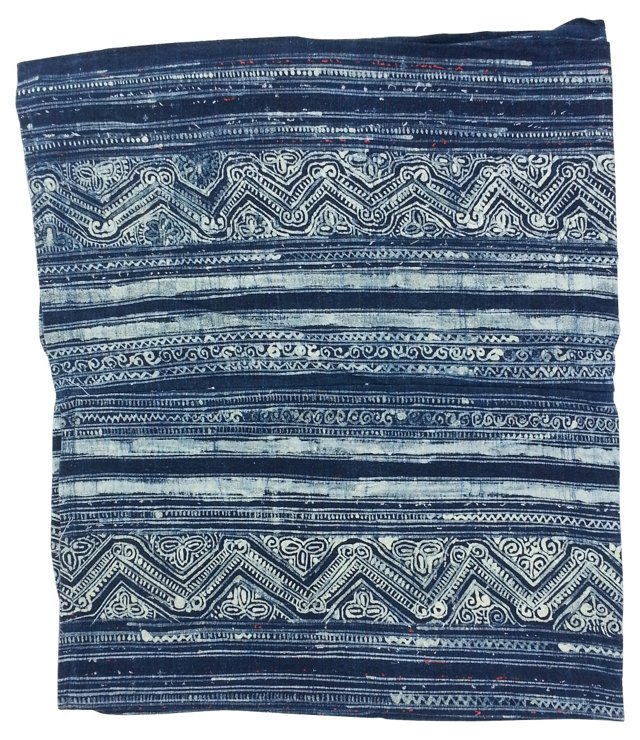 Blue & White   Batik   Linen  Textile