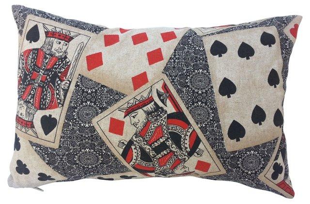 Linen Playing Card-Motif Pillow