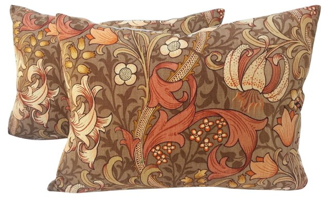 William Morris Textile   Pillows, Pair