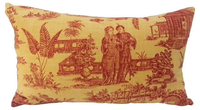 Linen   Chinoiserie Lumbar Pillow