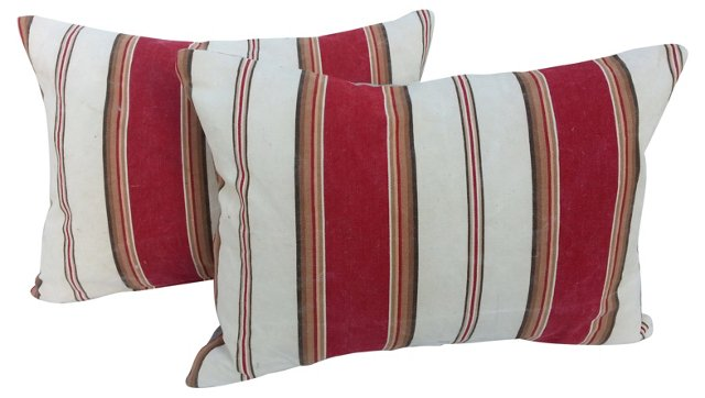French Ticking Pillows, Pair