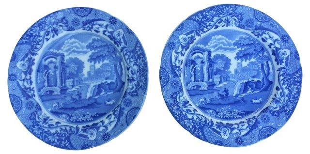 19th-C. Spode Wall Plates, Pair