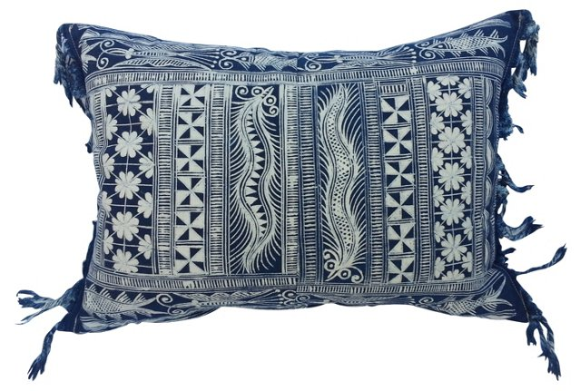 Batik Fringed Pillow