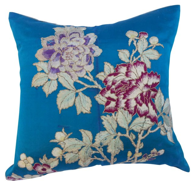 Embroidered Silk Floral   Pillow