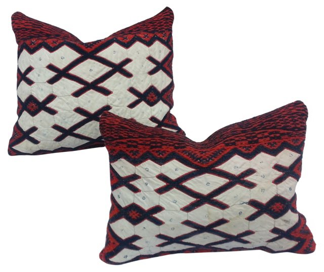 Yao Embroidered Tribal Pillows, Pair