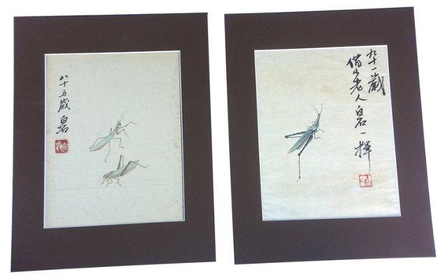 Chinese Cricket Watercolors, Pair