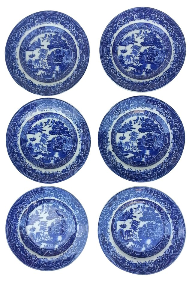 Victorian Canton Wall Plates, S/6