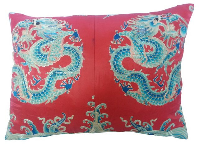 Silk-Embroidered Double-Dragon Pillow