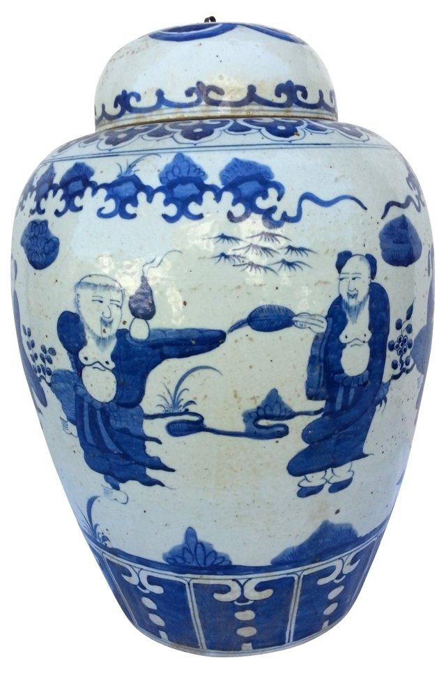 Large Blue  &  White Ginger Jar