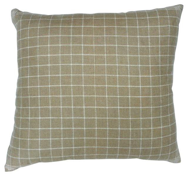 1920s Linen Plaid Pillow